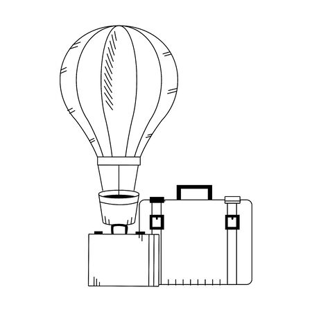 hot air balloon and travel suitcases icon over white background, vector illustration