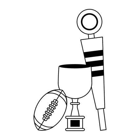 american football sport game champion trophy with ball and sideline cartoon vector illustration graphic design Illusztráció