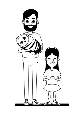 family avatar father with beard holding a baby next to a child profile picture cartoon character portrait in black and white vector illustration graphic design