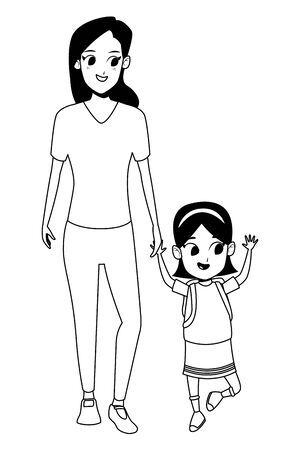 Family single mother with kid daughter holding school backpack isolated vector illustration graphic design Foto de archivo - 133908025