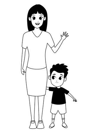 Single mother with children son cartoon vector illustration graphic design