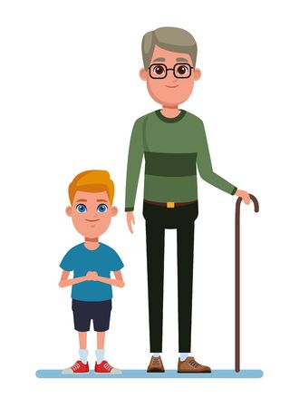 family avatar grandfather with glasses and cane next to a child profile picture cartoon character portrait vector illustration graphic design Çizim