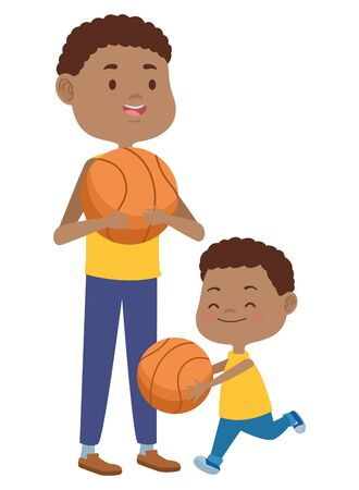 young father with son playing basketball vector illustration design Stock Illustratie