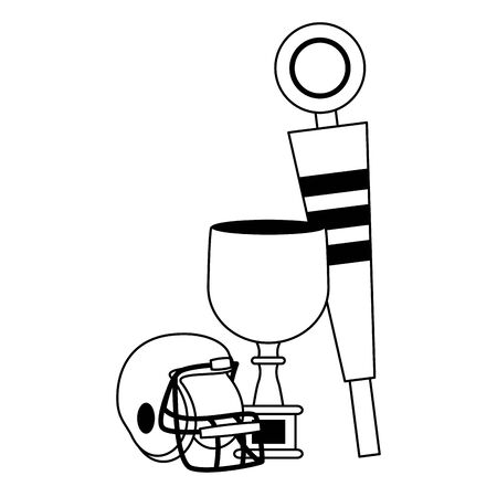 american football sport game champion trophy with helmet and sideline cartoon vector illustration graphic design