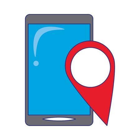 Smartphone and location pin symbols vector illustration graphic design