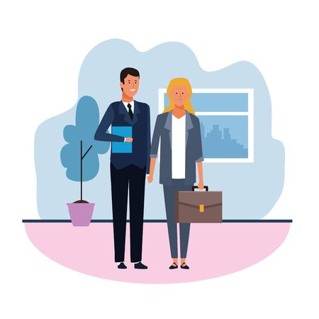 young Business man and woman in the office over white background, colorful design. vector illustration Иллюстрация