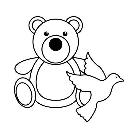 cute little bear teddy toy vector illustration design