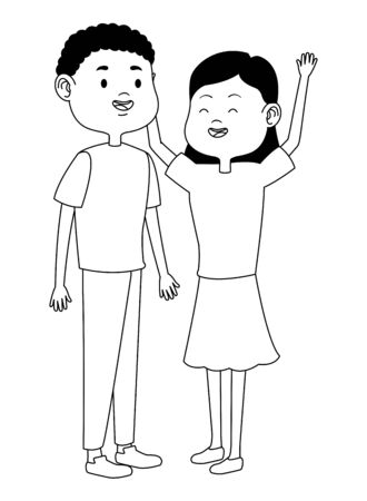 Teenagers friends boy and girl with casual clothes smiling and greeting cartoons ,vector illustration graphic design. Foto de archivo - 133908513