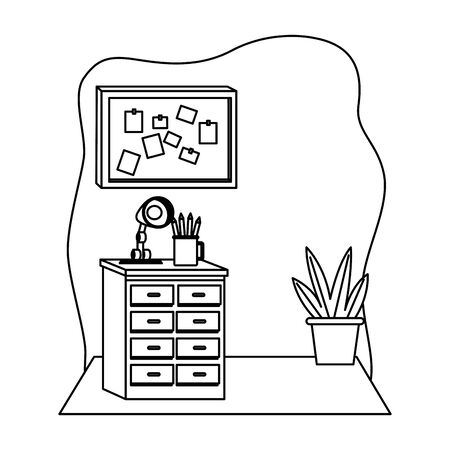 Office workplace drawer with light lamp corkboard with notes and plant pot elements cartoons ,vector illustration graphic design. 일러스트