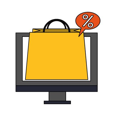 online shopping ecommerce sale, buying by computer cartoon vector illustration graphic design 일러스트