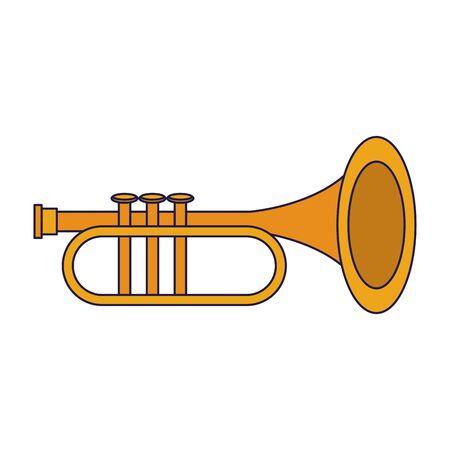 music instrument musical trumpet object cartoon vector illustration graphic design Ilustracja