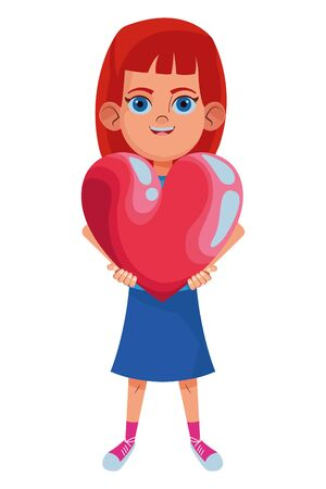 little kid girl carrying a big heart avatar cartoon character portrait isolated vector illustration graphic design Çizim
