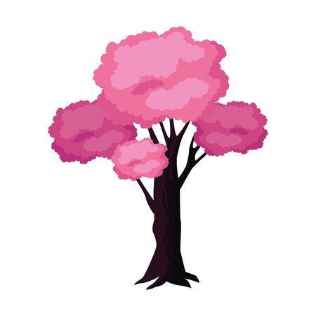 pink tree icon over white background, colorful design. vector illustration