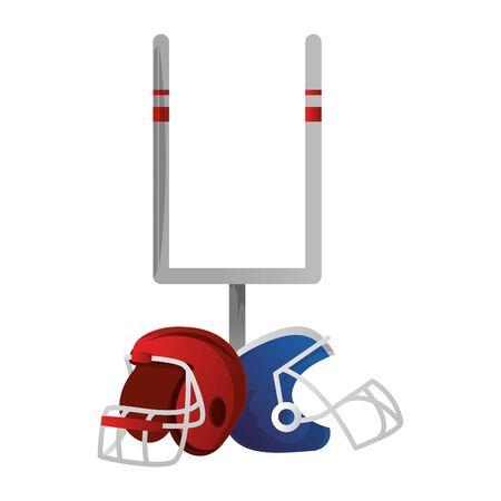 american football sport game goal post with helmets cartoon vector illustration graphic design