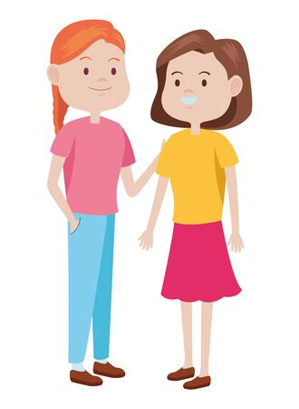 Teenagers women friends greeting and smiling with casual clothes cartoons ,vector illustration graphic design. Foto de archivo - 133908577