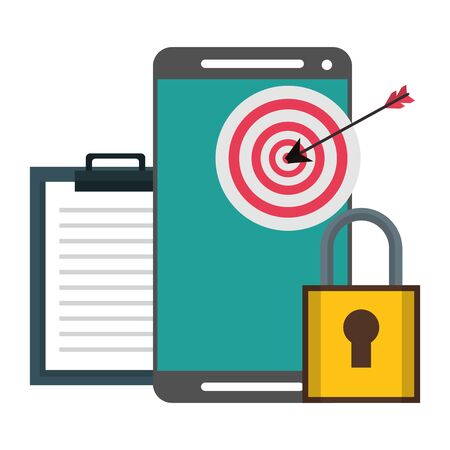 Smartphone with target darboad on screen and padlock with clipboard symbols vector illustration graphic design