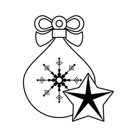merry christmas santa claus gifts bag vector illustration design
