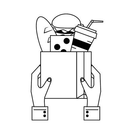 Hands holding paper bag with groceries vector illustration graphic design Çizim