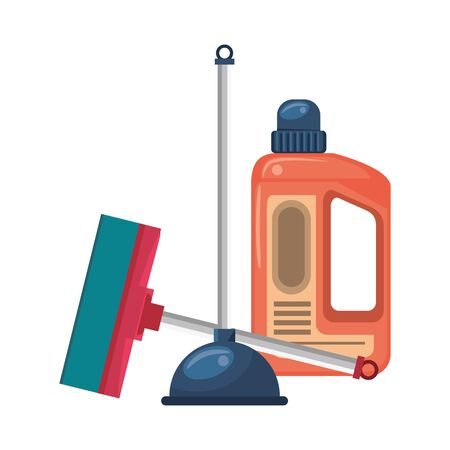 Cleaning equipment and products soap bottle with toilet pump and mop vector illustration graphic design. Çizim