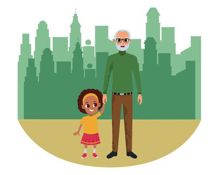 Family grandfather and little granddaughter smiling cartoon in the city urban scenery background ,vector illustration graphic design.