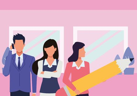 Group of business partners with business and symbols, executive entrepreneur teamwork inside office building scenery ,vector illustration graphic design. Ilustrace