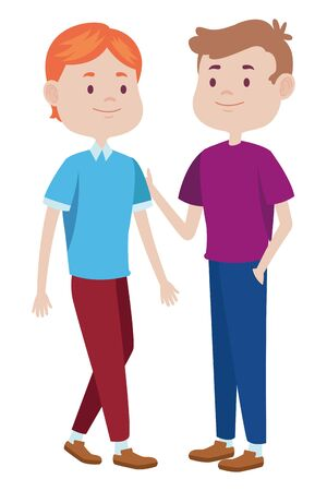 Teenagers male friends greeting and smiling with casual clothes cartoons ,vector illustration graphic design. Ilustracja