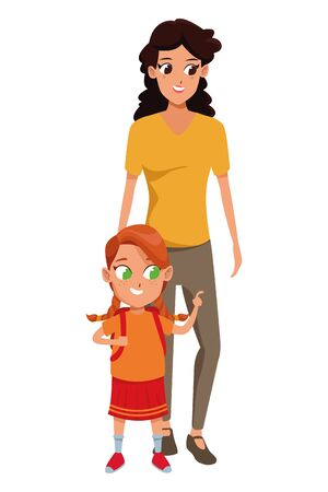 Family single mother with daugther holding school backpack vector illustration graphic design Illusztráció