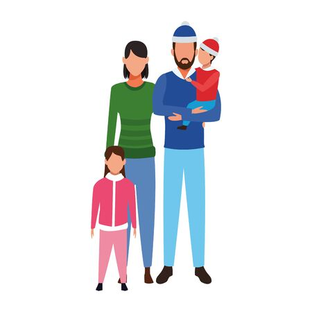 avatar man and woman with kids and wearing winter clothes over white background, vector illustration