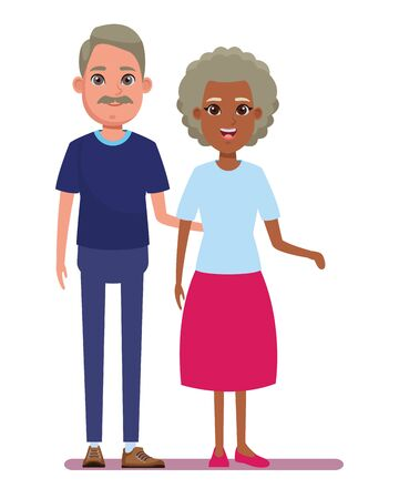 elderly people avatar afroamerican old woman and old man with moustache profile picture cartoon character portrait vector illustration graphic design Illusztráció