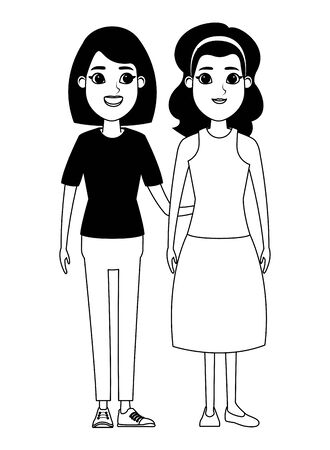 avatar women avatar brunette woman with bandana and woman with short hair profile picture cartoon character portrait in black and white vector illustration graphic design Foto de archivo - 133908655