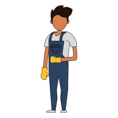 Cleaner worker man smiling with cleaning products and equipment vector illustration graphic design. Çizim