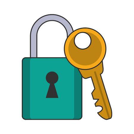Security padlock and key symbols vector illustration graphic design Çizim