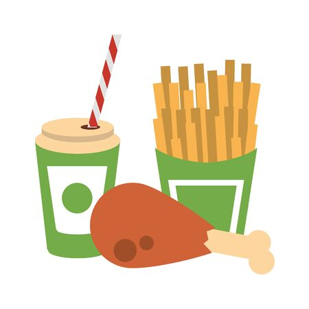 Food french fries and chicken with soda cup to go vector illustration graphic design Çizim