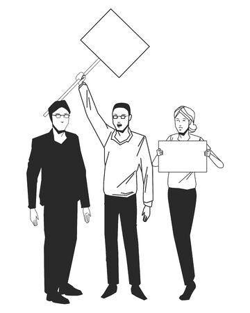 social activity public protest man protester with vector cartoon character black white vector illustrtion graphic design Ilustrace