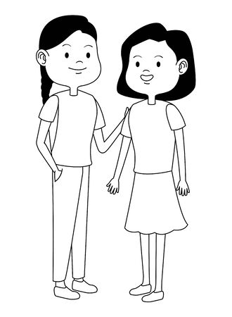 Teenagers women friends greeting and smiling with casual clothes cartoons ,vector illustration graphic design. Foto de archivo - 133908813