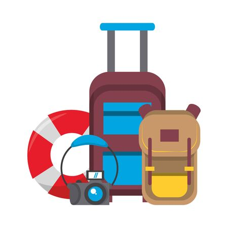 Summer and travel luggage backpack and float with camera cartoons vector illustration graphic design