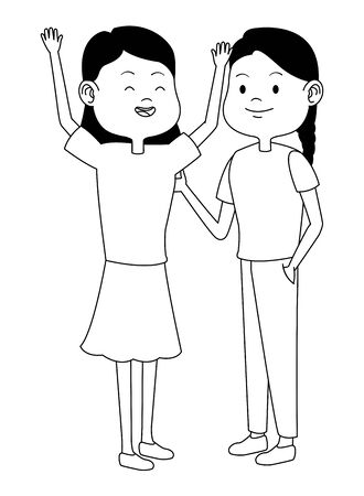 Teenagers women friends greeting and smiling with casual clothes cartoons ,vector illustration graphic design. Foto de archivo - 133908816