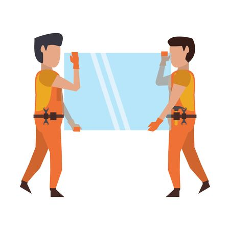 Construction worker holding mirror isolated vector illustration graphic design