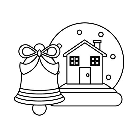 merry christmas crystal ball with pine tree vector illustration design Ilustrace