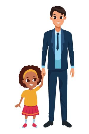 Family single father and little daugther smiling cartoon vector illustration graphic design Ilustração