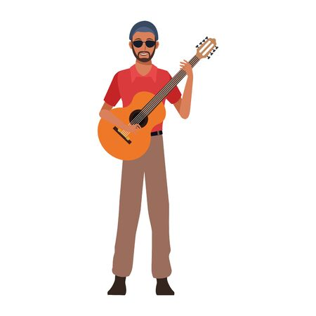musician with guitar icon over white background, colorful design. vector illustration