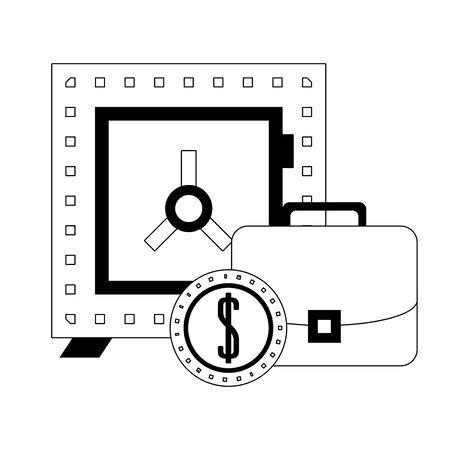 Strongbox with briefcase and coin symbols in black and white vector illustration Reklamní fotografie - 133901691