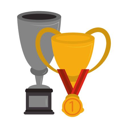 Soccer trophy cups tournament with first place medal vector illustration graphic design