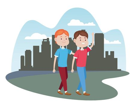 young men friends characters in the city vector illustration design