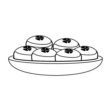 bowl with mooncakes over white background, vector illustration
