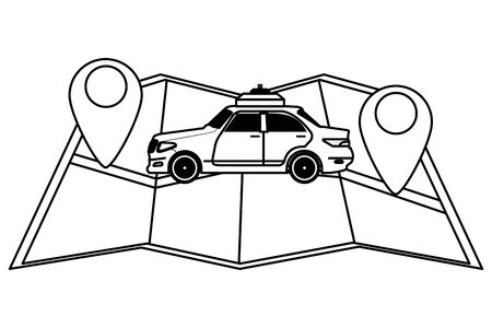taxi car public transport service with gps technology location cartoon vector illustration graphic design Ilustrace