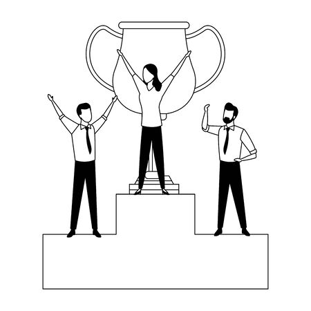 group of three business person with a big trophy in a podium in black and white vector illustration graphic design