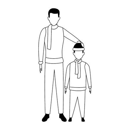 avatar man and kid with scarfs over white background, vector illustration