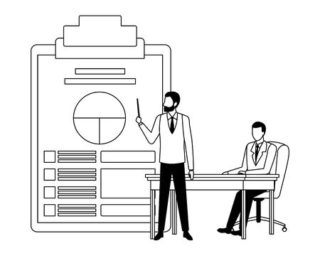 two businessmen avatar character with big documents table with data chart icon cartoon in black and white vector illustration graphic design
