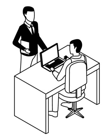 technology businessmen in office with laptop and diary symbol vector illustration graphic design Ilustracja